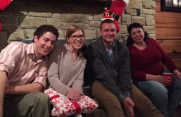 Celebrating the holidays at the Demas lab Christmas party.