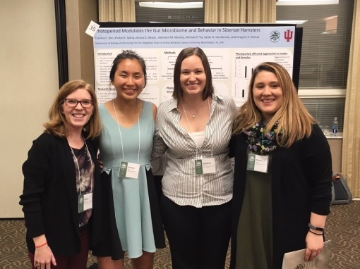 Kristyn, Clarissa, Kat and Jessica present their research at the 2018 Animal Behavior Conference.