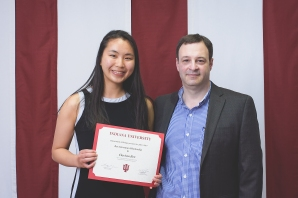 Undergraduate student Clarissa receives the Rex Grossman Scholarship in spring 2018.
