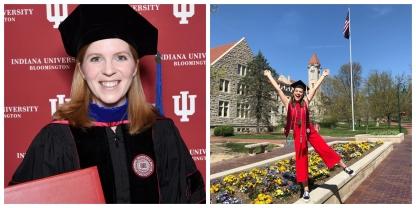 Our lab's spring 2018 graduates: Dr. Kristyn Sylvia (left) and undergraduate student Emma St. John (right).