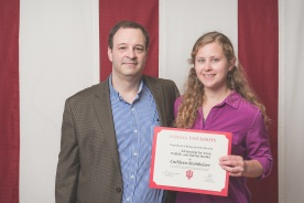 Cat receives the 2019 Scholarship for Avian, Wildlife, and Habitat Studies from the IU Department of Biology.